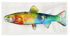Rainbow Trout Art By Sharon Cummings Beach Towel by Sharon Cummings