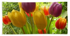 Rainbow Tulips  Beach Sheet