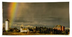 Rainbow Over The Tower Beach Towel