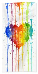Rainbow Watercolor Heart Beach Towel