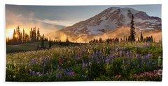 Rainier Golden Light Sunset Meadows Beach Towel