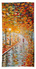 Beach Towel featuring the painting Rainy Autumn Day Palette Knife Original by Georgeta  Blanaru