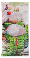 Rainy Day Flamingos 2 Beach Towel