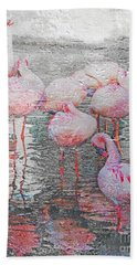 Rainy Day Flamingos Beach Towel