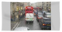 Rainy Day London Traffic Beach Towel