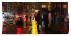 Rainy Night New York Beach Towel