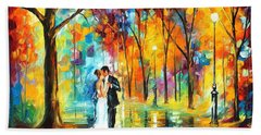 Rainy Wedding - Palette Knife Oil Painting On Canvas By Leonid Afremov Beach Towel