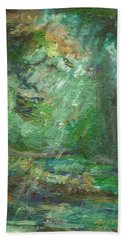 Beach Towel featuring the painting Rainy Woods by Mary Wolf