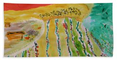 Raising Tomatoes On North Point Beach Towel by Mary Carol Williams