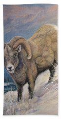 Beach Towel featuring the painting Ram In The Snow by Donna Tucker
