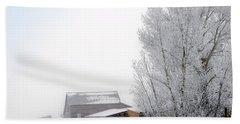 Ranch In Frozen Fog Beach Towel