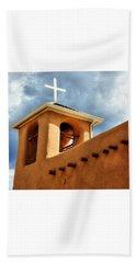 Rancho De Taos Bell Tower And Cross Beach Towel by Lanita Williams