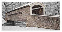 Rapps Bridge In Winter Beach Sheet by Michael Porchik