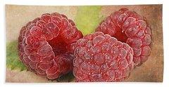 Raspberries  Beach Towel by Barbara Orenya