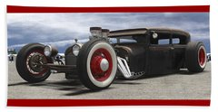 Rat Rod On Route 66 Panoramic Beach Sheet