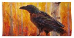 Raven Glow Autumn Forest Of Golden Leaves Beach Towel