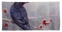 Raven In The Stillness - Black Bird Or Crow Resting In Winter Forest Beach Towel