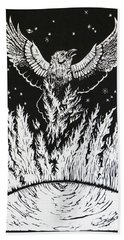 Raven Stealing Fire From The Sun - Woodcut Illustration For Corvidae Beach Towel