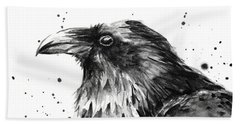 Raven Watercolor Portrait Beach Towel