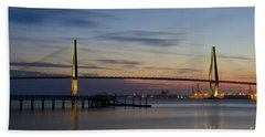 Beach Towel featuring the photograph Ravenel Bridge Nightfall by Dale Powell