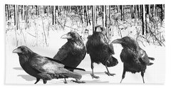 Ravens By The Edge Of The Woods In Winter Beach Towel