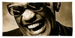 Ray Charles - Portrait Beach Towel by Paul Tagliamonte