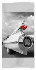 Reach For The Skies - 1959 Cadillac Tail Fins Black And White Beach Sheet