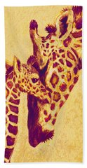 Red And Gold Giraffes Beach Towel