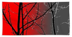 Red And Gray Beach Towel by Cynthia Guinn