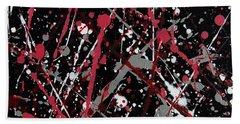 Red And Grey Paint Splatter II Beach Towel