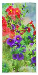 Red And Purple Calibrachoa - Digital Paint I Beach Towel by Debbie Portwood