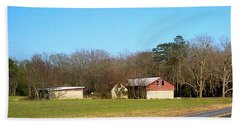Red And White Barn With Trees Beach Towel by Amazing Photographs AKA Christian Wilson