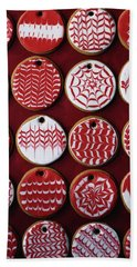 Red And White Christmas Cookies Beach Towel