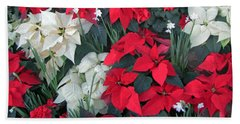 Red And White Poinsettias Beach Towel