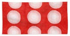 Red And White Shibori Circles Beach Towel