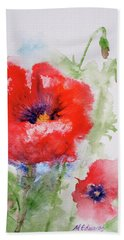 Red Anemones Beach Sheet by Marna Edwards Flavell