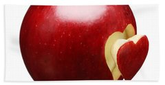 Red Apple With Heart Beach Towel