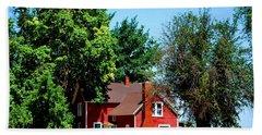Red Barn And Trees Beach Sheet by Matt Harang