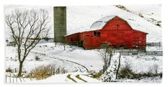 Red Barn In Snow Beach Sheet