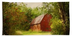 Red Barn In The Woods Beach Sheet