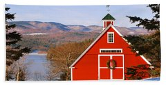 Red Barn On Newfound Lake Beach Sheet