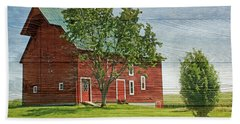 Red Barn On Siding Beach Towel