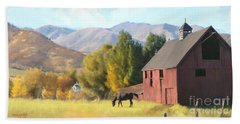 Beach Towel featuring the painting Red Barn by Rob Corsetti