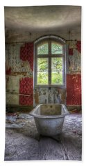 Red Bathroom Beach Sheet by Nathan Wright