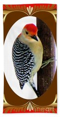 Beach Towel featuring the photograph Red-bellied Woodpecker Framed by Janette Boyd