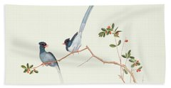 Red Billed Blue Magpies On A Branch With Red Berries Beach Towel by Chinese School