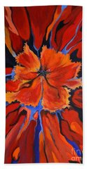 Beach Towel featuring the painting Red Bloom by Alison Caltrider
