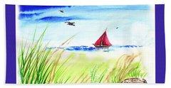 Red Boat Blue Sea Beach Towel