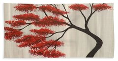 Beach Sheet featuring the painting Red Bonsai by Darren Robinson