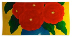 Red Bouquet Beach Towel by Anita Lewis